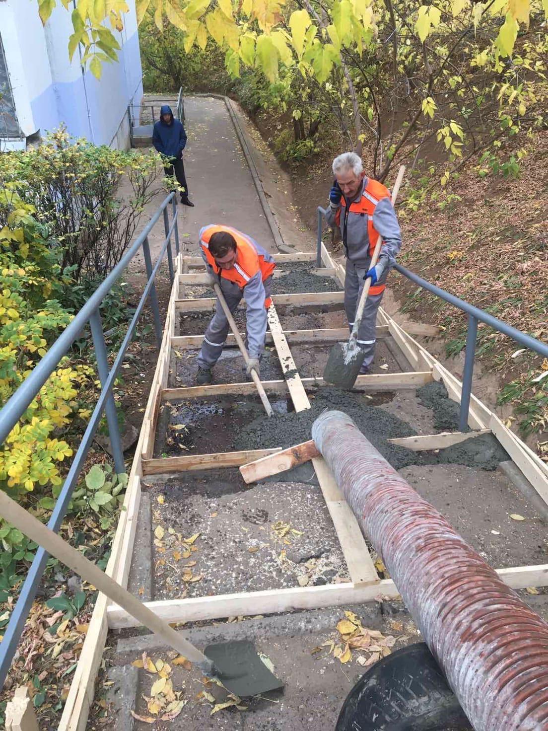 Проспект Строителей дом 9/1 ремонт уличной лестницы