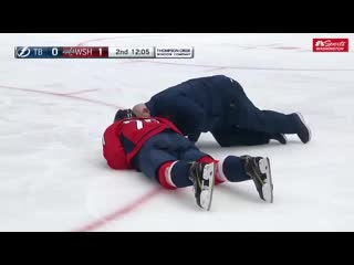 Oshie heads to the tunnel after a collision with sergachev