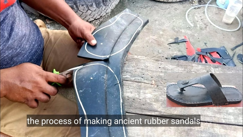 The process of making ancient rubber sandals