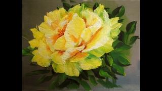 Желтые розы поэтапно маслом одним мазком.Yellow rose. Painting