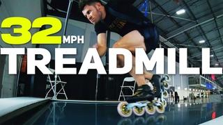Giant Inline Skating Treadmill  - World Champion & Olympian Joey Mantia 32mph Ice Skating Technique