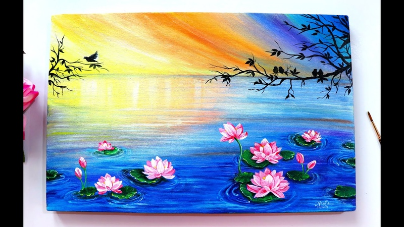 Step by Step Floating Lotus Painting Tutorial for Beginners using Acrylic Colours