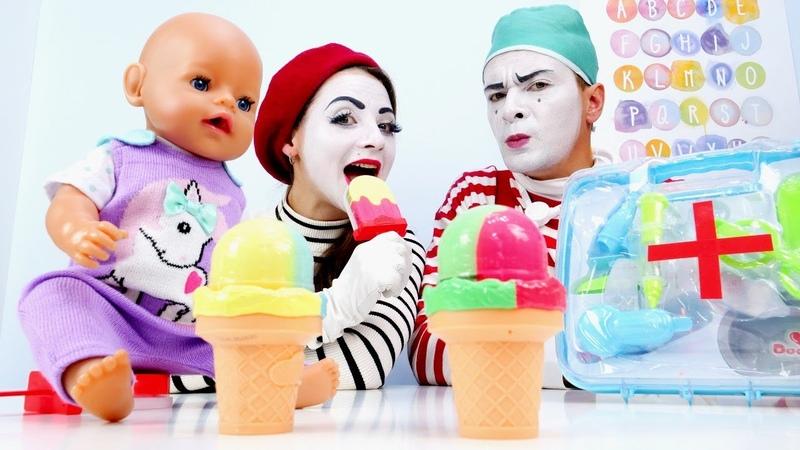 Видео для детей У куклы Беби Бон простуда Весёлые игры доктор Мультики про Baby Born