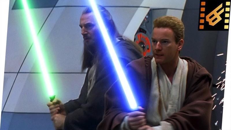 Qui Gon Obi Wan vs Trade Federation Droids Star Wars The Phantom Menace 1999 Movie Clip 4K