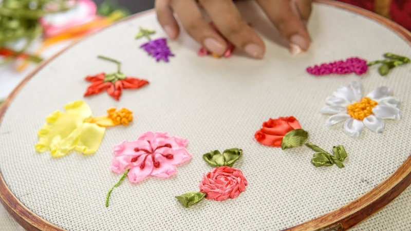 10 RIBBON EMBROIDERY FLOWERS Hand Stitching Tutorial for Beginners