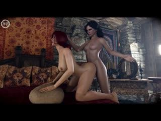 Yennefer x Triss [futa, futanari, big dick, cum, big tits, porn, 3d, r34, anal, hentai, rule34, ass]