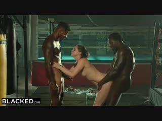 Black is oiled up and dominated by two bbcs [big dick, blowjob, brunette, hd porn]