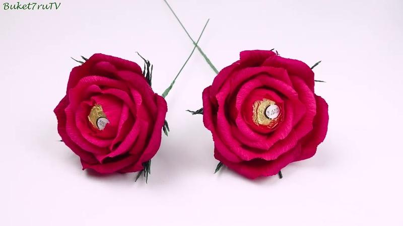 Как сделать бумажные розы с конфетой своими руками DIY How to Make Paper Roses
