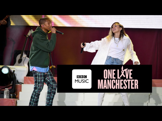 Pharrell Williams and Miley Cyrus Happy One Love Manchester
