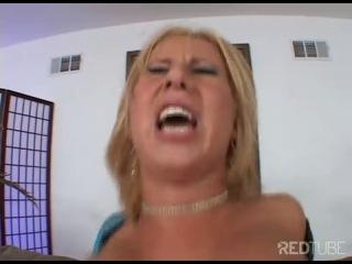 Blond fuck machine enjoys a rough butt attack