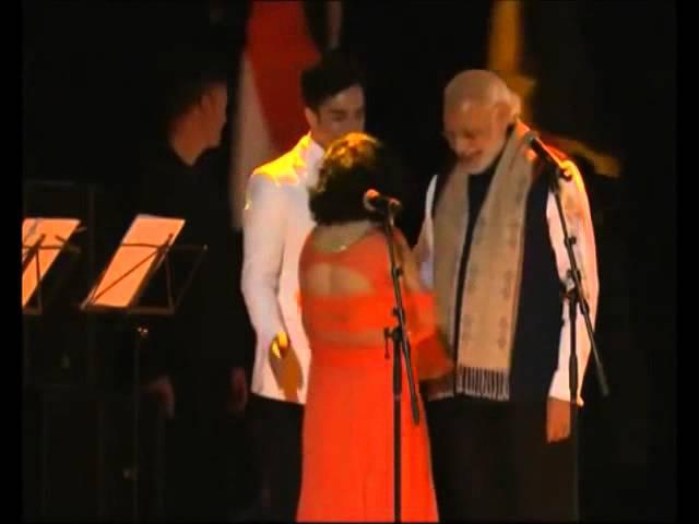 PM Narendra Modi Blessing Vasundhara Raturi in Brussels, Belgium