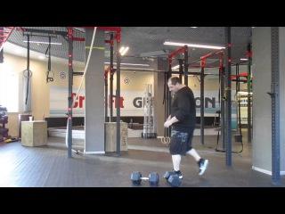 Charles Blatt's lift-crossed dumbbells 35kg+30kg one hand  clean and push press.Подъём Ч.Блатта-65кг