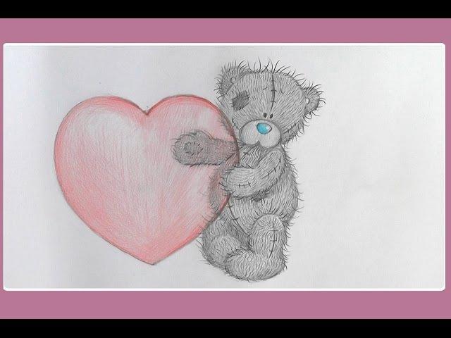 Уроки рисования Как нарисовать мишку ТЕДДИ с сердечком на ДЕНЬ СВЯТОГО ВАЛЕНТИ