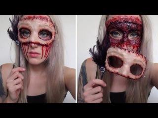 Masquerade Flesh Mask Halloween Makeup Tutorial    Gory & Easy