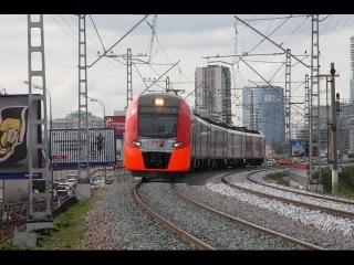 """ЭС2Г 023 """"Ласточка"""" на перегоне Пресня - Канатчиково МЦК Московской железной дороги."""