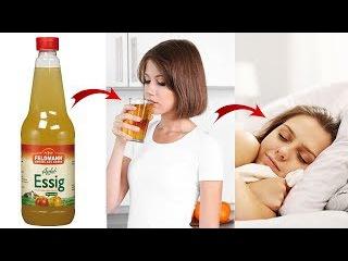 Schau was passiert, wenn du vor dem Schlafen gehen Apfelessig trinkst!