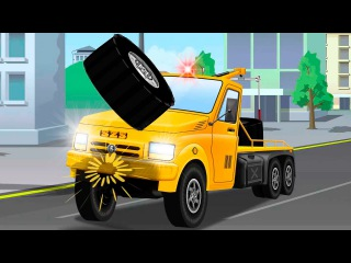 The Tow Truck Accident on the Road - Service Vehicles Kids Cartoon - Cars & Trucks Cartoons