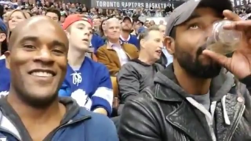 'When you're with a lakings fan and they just scored a goal on the home team mapleleafs' @isaiahmustafa @lamonicagarrett