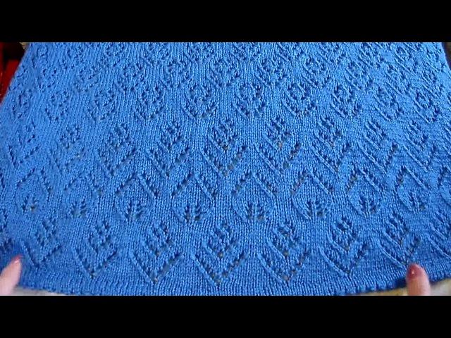 Ажурные узоры для кардигана шарфа и др Вязание спицами Видеоурок 204