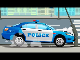 The Blue Police Car Accident on the Road Kids Animation | Cars & Trucks Cartoon for children