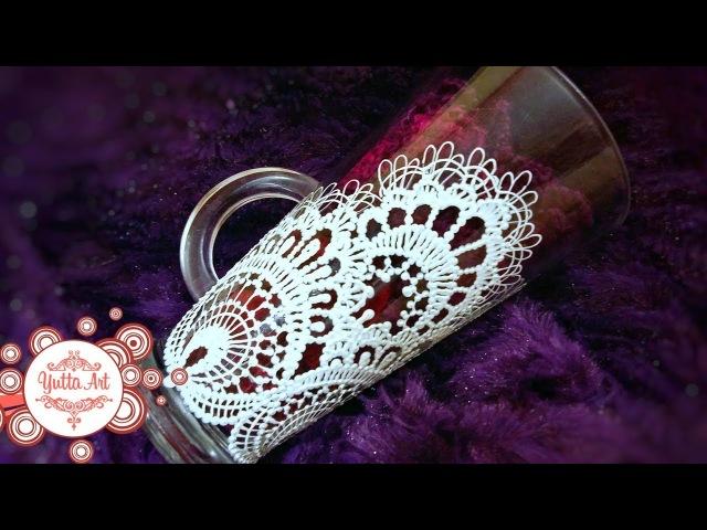 Уникальный подарок к 8 Марта Мастер класс от Ютты Арт Кружевная салфетка на стекле Рисуем сами