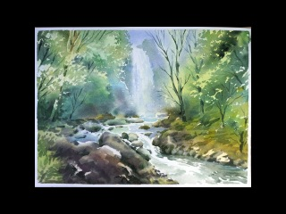 Watercolor Landscape Painting : Forest Waterfall