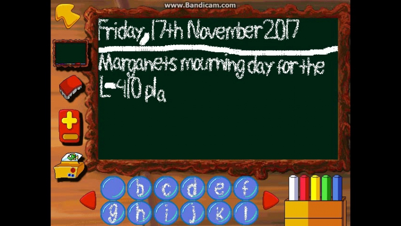 The Freddi Fish chalkboard text typing during the Marganets mourning day