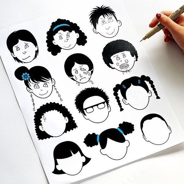 Рисуем лицо Шаблоны пустых лиц, созданные мамой-художницей Джейми Экинс. Казалось бы, простая раскраска, созданная для развлечения дочки, оказалась очень востребованной не только родителями, но
