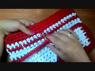 Вязание крючком. Клатч - косметичка. Трикотажная пряжа