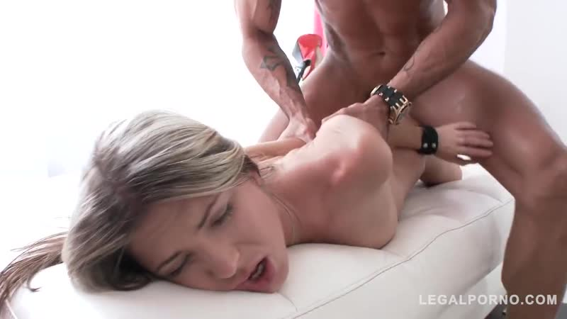 Tiny slut Gina Gerson in anal threesome with double
