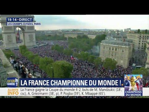 Coupe du monde: les Champs-Elysées envahis par les supporters venus fêter la victoire des Bleus