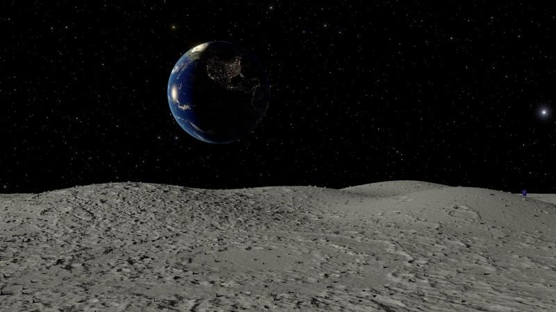 Вечное движение. Вид с Луны на Землю при движении Луны вокруг Земли. Компьютерная анимация.