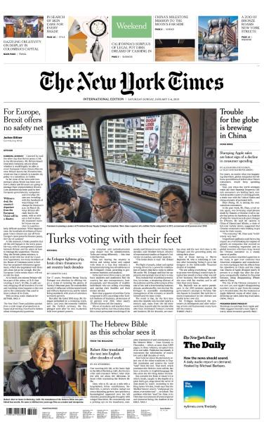 International New York Times - 5-6 January 2019