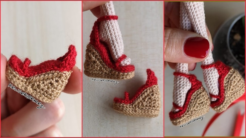 Amigurumi Dolgu Topuk Ayakkabı Yapımı (How To Make High Heel Shoes For Your Dolls)