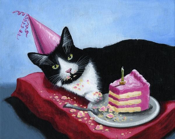 открытка с днем рождения кот на подушках