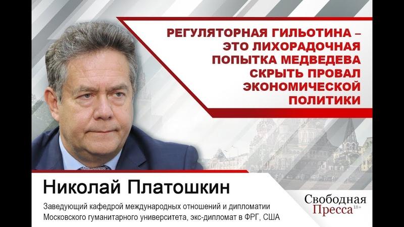 Платошкин: Регуляторная гильотина – лихорадочная попытка скрыть провал экономического развития