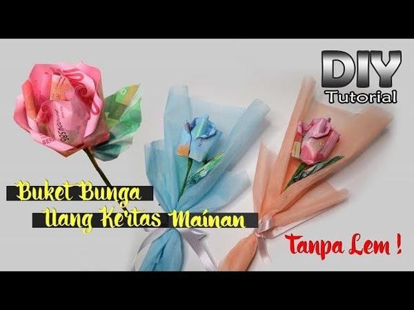 IDE KREATIF DIY Single Bouquet Mawar dari uang kertas mainan Kerajinan tangan Tugas sekolah