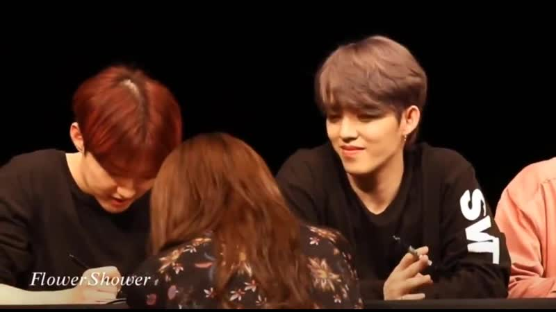 The way seungcheol looks at carats when he is waiting for them .