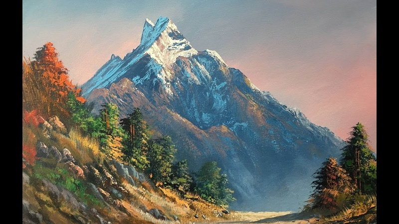 Painting a Beautiful Mountain Landscape with Acrylics | Knife Painting | Art Candy