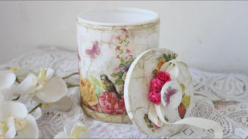 Reciclado de tarro de pintura 😃 Efecto mármol blanco 👍 Decoupage DIY Manualidades fáciles