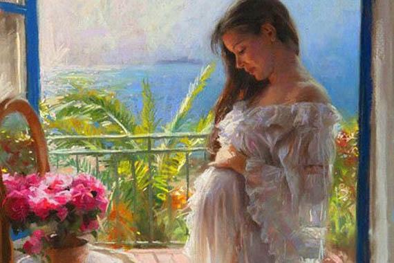 беременная женщина живопись
