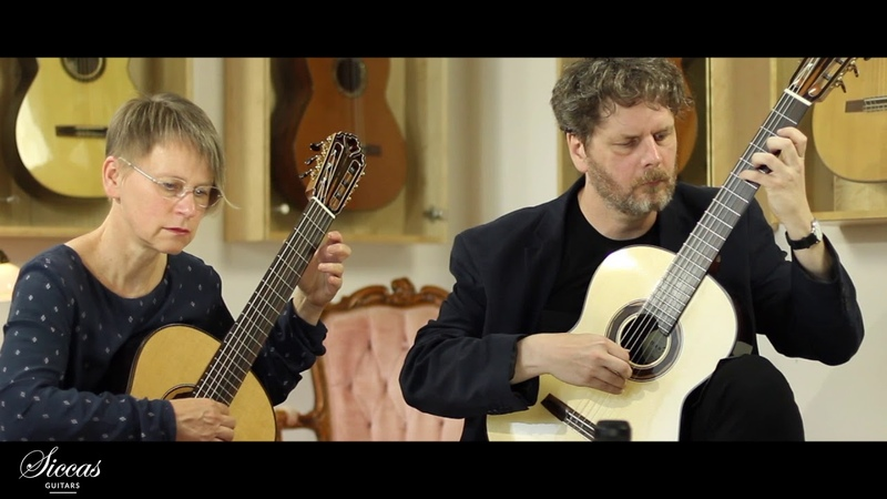Duo Saitenspuren plays Roland Dyens Gloomy Light on a Hanika I a Doubletop and a Hanika Ia Lattice a