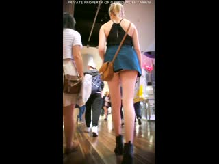 Upskirt blonde teen with very short skirt no porn yes panties
