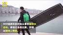 Chinese man paddle boards across Yangtze River to get to work