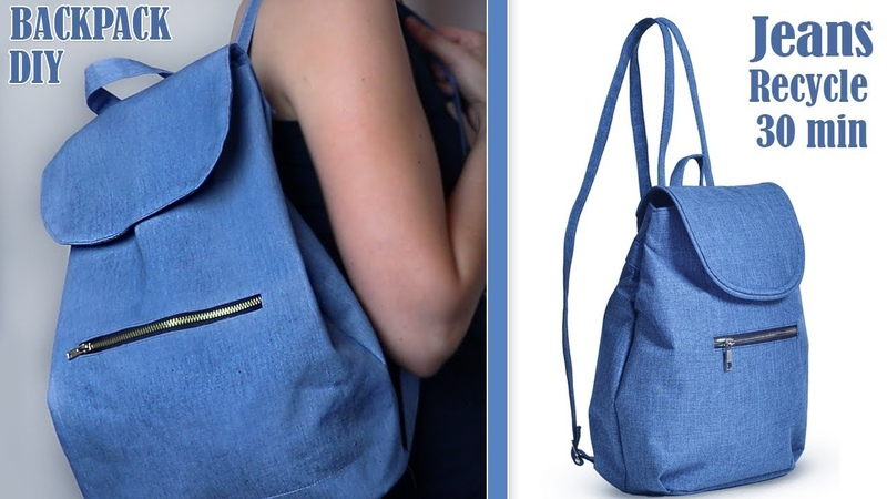 DIY OLD JEANS RECYCLE INTO CUTE BACKPACK TUTORIAL Handmade Backpack Idea 30 min