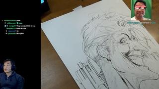 Joker! Batman and Catwoman! Art Stream with Jim Lee