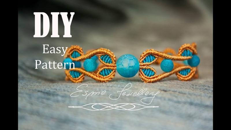 Summer bracelet golden sand and light turquoise. Micro macramé tutorial. Two colours bracelet DIY