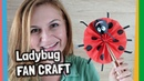 How to make simple paper fan craft - Ladybug shape