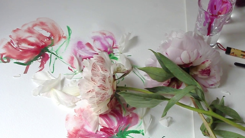 WATERCOLOR Flower Painting Peonies