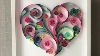 QllArt | Quilling Paper Art | How to draw a heart | Love art | Квиллинг сердце